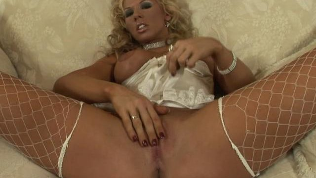 Busty Blonde Czech Honey In Fishnets Rubbing Her Rainy Rumpled Slit Skin
