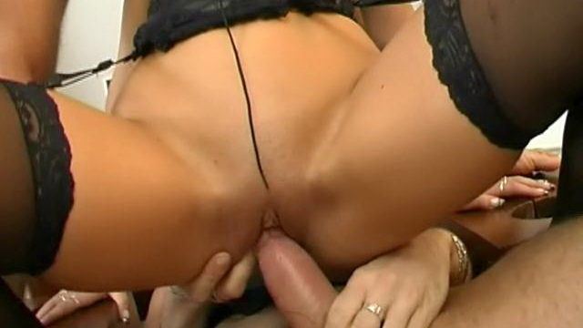 Trashy Brunette Slave In Stockings Caslavova Will Get Double Pounded