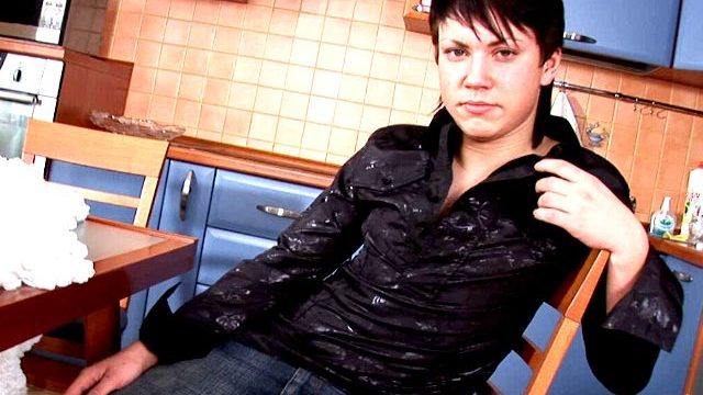 Excited Brunette Homosexual Paul Stripping Erotically For You Within The Kichen