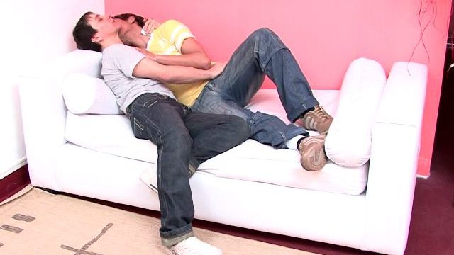 Candy Beginner Gays Julian And Moxi Kissing Their Our Bodies On The Sofa