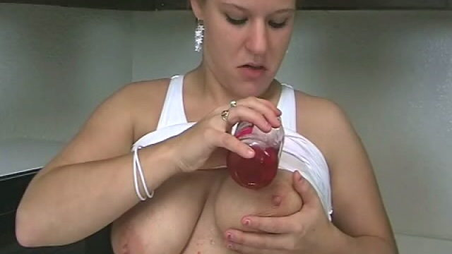 Huge Meloned Blond Teenager Christy Opening Up Cherries On Her Fantastic Figure Within The Kitchen