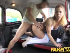 Faux Cab Nurse In Beautiful Undergarments Has Automotive Fuck-fest