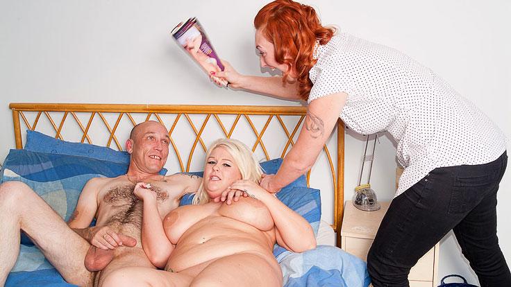 Humungous Platinum-blonde Does Milking Man